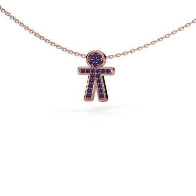 Picture of Pendant Boy 375 rose gold sapphire 1 mm
