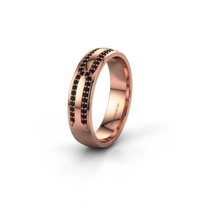 Trouwring WH2212L25AP 585 rosé goud zwarte diamant ±5x1.7 mm