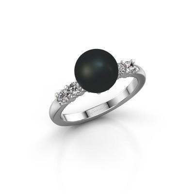 Foto van Ring Cecile 925 zilver zwarte parel 8 mm