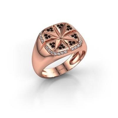 Foto van Heren ring Ravi 585 rosé goud zwarte diamant 0.378 crt
