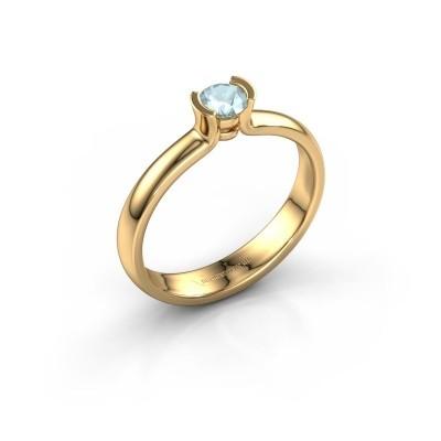 Foto van Verlovingsring Ophelia 585 goud aquamarijn 4 mm