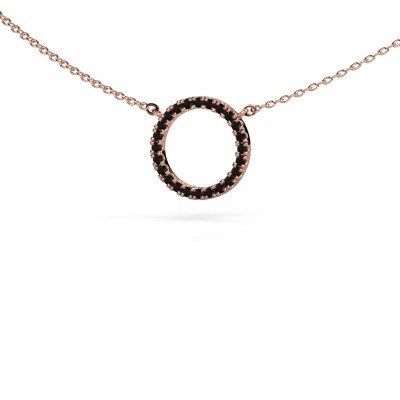 Picture of Pendant Circle 375 rose gold black diamond 0.216 crt