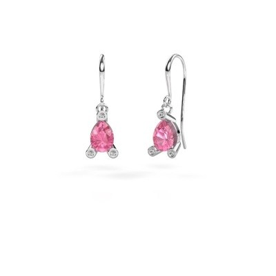 Picture of Drop earrings Bunny 1 375 white gold pink sapphire 7x5 mm