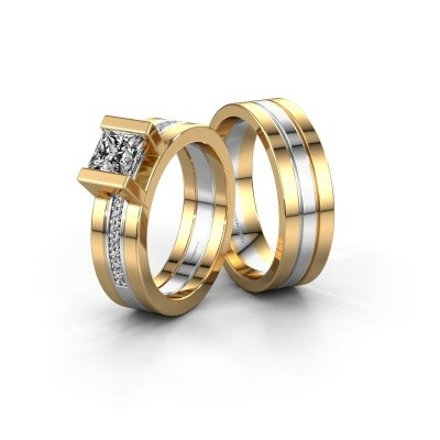 Foto van Trouwringen set WHR0357LM16AP ±6x2 mm 14 karaat goud diamant 0.40 crt
