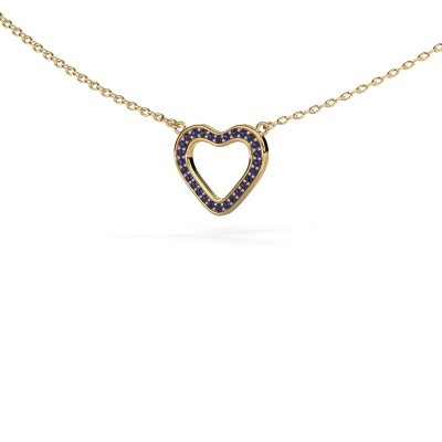 Picture of Pendant Heart 3 585 gold sapphire 0.8 mm