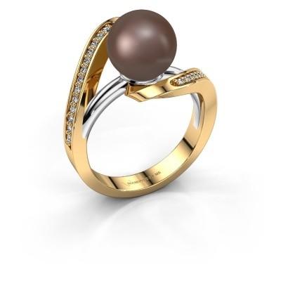 Foto van Ring Amber 585 goud bruine parel 9 mm