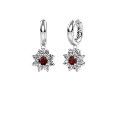 Picture of Drop earrings Geneva 1 950 platinum garnet 4.5 mm