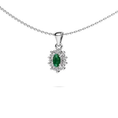 Picture of Necklace Leesa 585 white gold emerald 6x4 mm