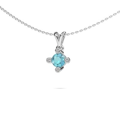 Picture of Pendant Cornelia Round 375 white gold blue topaz 5.5 mm