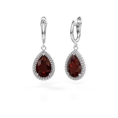 Picture of Drop earrings Hana 1 950 platinum garnet 12x8 mm