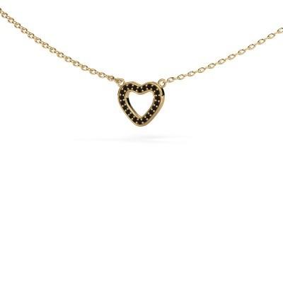 Bild von Anhänger Heart 4 585 Gold Schwarz Diamant 0.066 crt