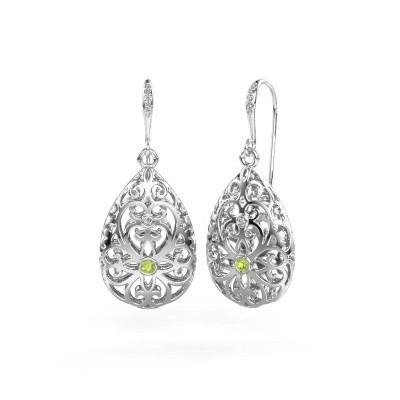 Picture of Drop earrings Idalia 2 585 white gold peridot 2 mm