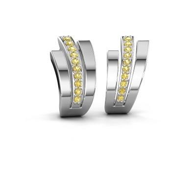 Foto van Oorbellen Emeline 925 zilver gele saffier 1.1 mm