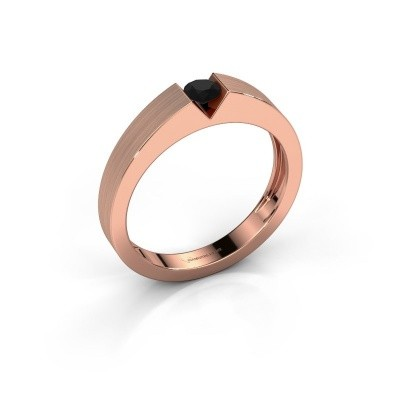 Foto van Verlovingsring Lizzy 1 585 rosé goud zwarte diamant 0.24 crt