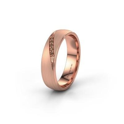Trouwring WH2150L25AM 585 rosé goud bruine diamant ±5x1.7 mm