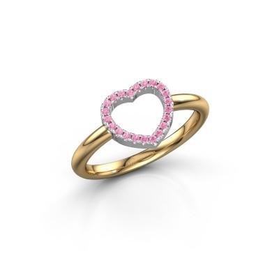 Foto van Ring Heart 7 585 goud roze saffier 1 mm
