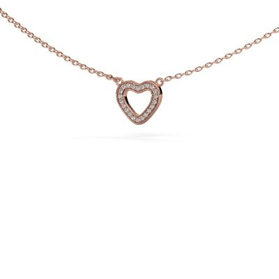 Picture of Pendant Heart 4 375 rose gold zirconia 0.8 mm