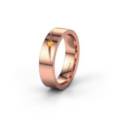 Trouwring WH0170L15A 585 rosé goud citrien ±5x1.7 mm