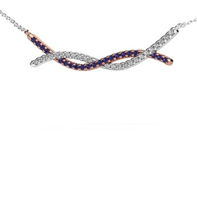 Picture of Bar necklace Breanne 585 rose gold sapphire 1.2 mm
