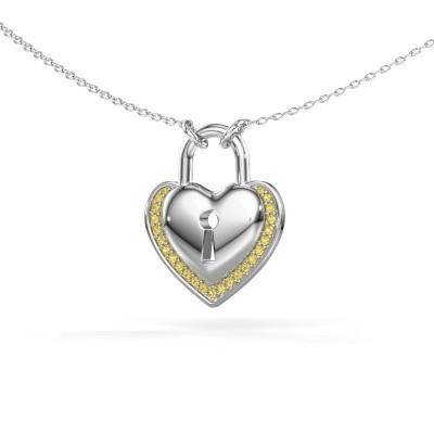 Picture of Necklace Heartlock 925 silver yellow sapphire 1 mm