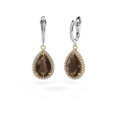 Picture of Drop earrings Hana 2 585 gold smokey quartz 12x8 mm