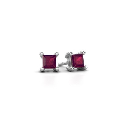 Picture of Stud earrings Sam square 925 silver rhodolite 4 mm