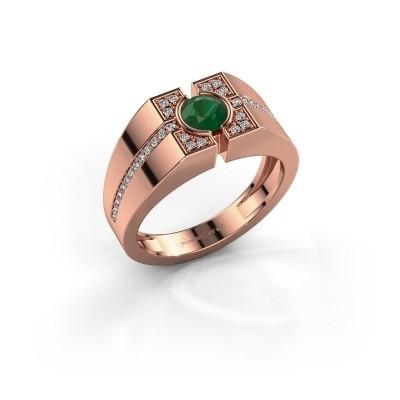 Foto van Herenring Thijmen 585 rosé goud smaragd 5 mm