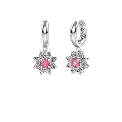 Picture of Drop earrings Geneva 1 585 white gold pink sapphire 4.5 mm