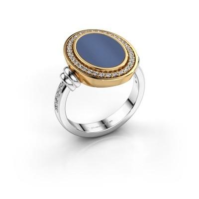Foto van Heren ring Servie 585 witgoud blauw lagensteen 14x10 mm