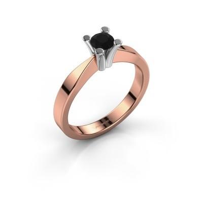 Foto van Verlovingsring Ichelle 1 585 rosé goud zwarte diamant 0.36 crt