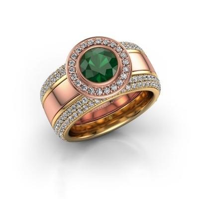 Foto van Ring Roxie 585 rosé goud smaragd 6.5 mm