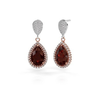 Picture of Drop earrings Cheree 2 585 rose gold garnet 12x8 mm