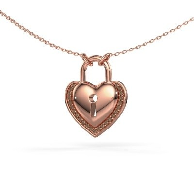 Picture of Necklace Heartlock 375 rose gold brown diamond 0.115 crt