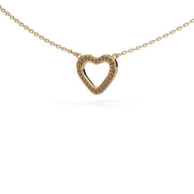 Bild von Anhänger Heart 3 585 Gold Braun Diamant 0.07 crt