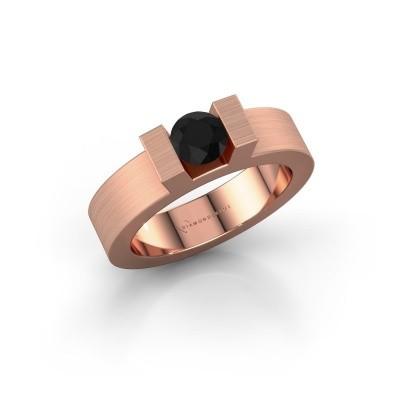 Foto van Ring Leena 1 375 rosé goud zwarte diamant 0.60 crt