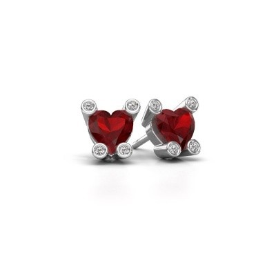 Picture of Stud earrings Cornelia Heart 375 white gold ruby 6 mm