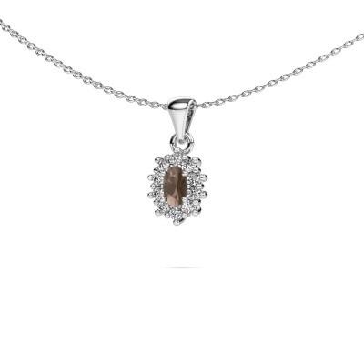 Picture of Necklace Leesa 925 silver smokey quartz 6x4 mm