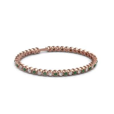 Foto van Tennisarmband Asley 750 rosé goud smaragd 3 mm