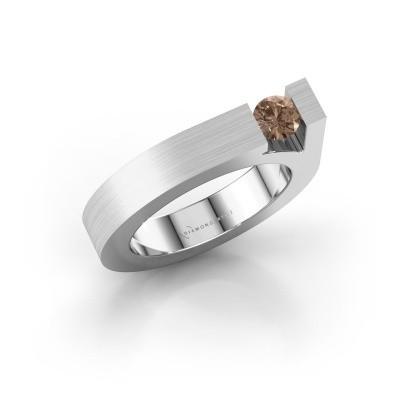 Foto van Ring Aisha 950 platina bruine diamant 0.30 crt