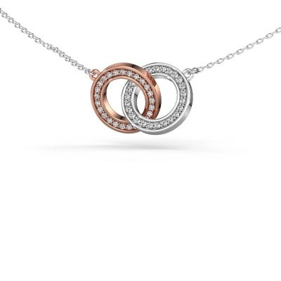 Foto van Halsketting Circles 2 585 rosé goud zirkonia 1 mm