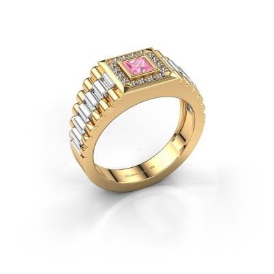 Foto van Rolex stijl ring Zilan 585 goud roze saffier 4 mm