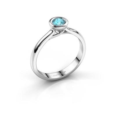 Foto van Verlovings ring Kaylee 585 witgoud blauw topaas 4 mm