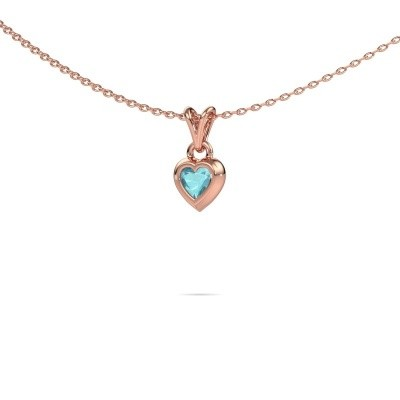 Picture of Pendant Charlotte Heart 375 rose gold blue topaz 4 mm