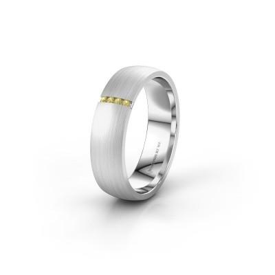 Trouwring WH0154L25XM 925 zilver gele saffier ±5x1.4 mm