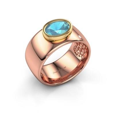 Foto van Ring Anouschka 585 rosé goud blauw topaas 8x6 mm