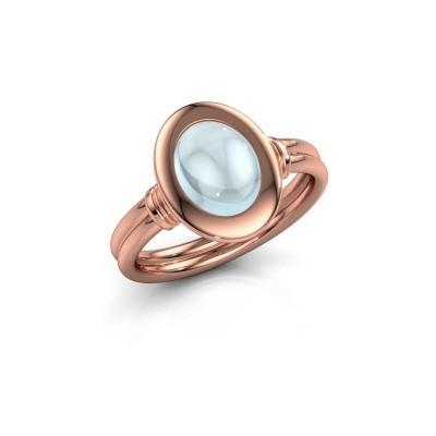 Foto van Ring Brittni 585 rosé goud aquamarijn 9x7 mm