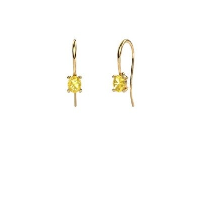 Picture of Drop earrings Cleo 585 gold yellow sapphire 6x4 mm