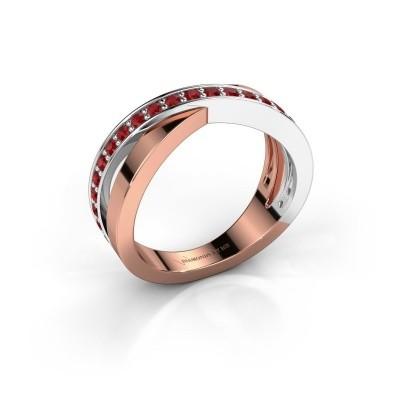 Foto van Ring Essie 585 rosé goud robijn 1.5 mm