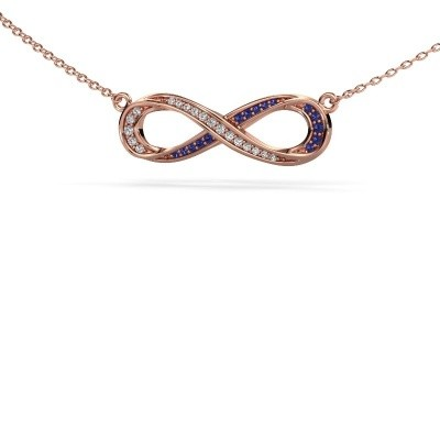 Picture of Necklace Infinity 2 375 rose gold sapphire 0.8 mm