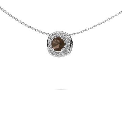 Picture of Necklace Carolina 925 silver smokey quartz 5 mm